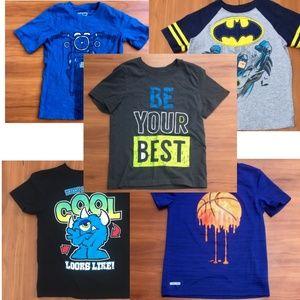 5 NEW ☑️Graphic Print Boys School Short Sleeve Sz